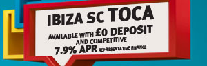SEAT Ibiza SC with £0 deposit and competitive 7.9% APR